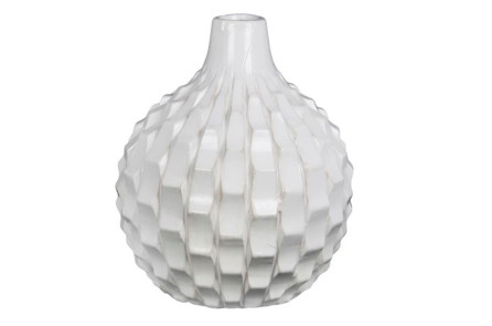 White Textured Vase By Living Spaces, $39. One Of The Easiest Ways To  Spruce Up A Minimalist Bathroom Is By Using Textures And Adding Plants.